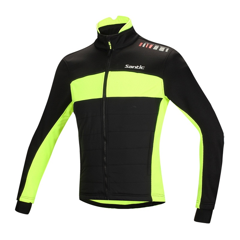 Santic Men's Winter Fleece Thermal Long Sleeve Cycling Jacket Gula Warm & Windproof Cycling MTB Road Bike Windbreaker jersey santic winter men cycling jersey with hooded fleece blue warm cycling clothing thermal mtb windproof cycling wear mc01054