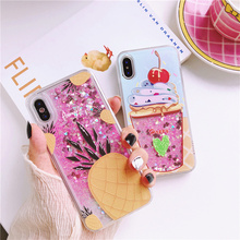 Cute Quicksand Pineapple Ice Cream Pattern Phone Cover Case For Iphone X Xs Max Xr 10 8 7 6 6s Plus Soft Silicone Coque Fundas
