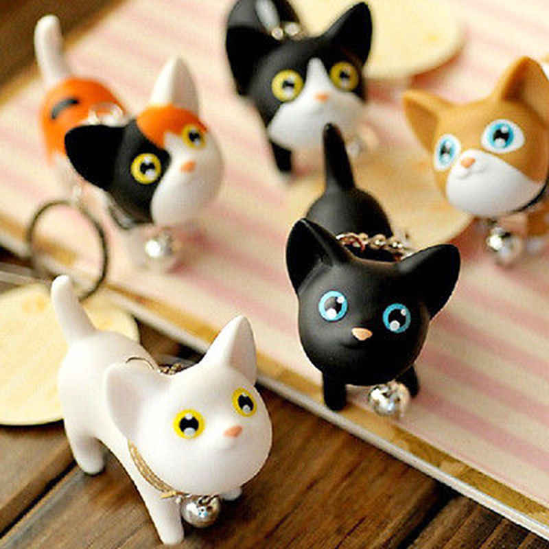 OPPOHERE Fashion Cute Cartoon Cat Pendant Key Rings Kitten Cat Key Chain Shake Head Bell Car Bag Keychains Creative Jewelry Gift