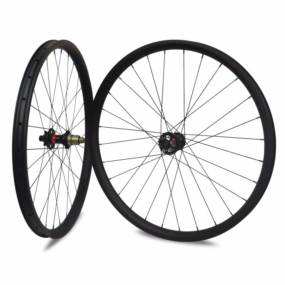 29er Carbon Mountain Bike Wheel Hookless/Asymmetric Tubeless Ready For DH/AM/XC/Enduro 24/27/30/35/40/50mm Width MTB Wheelset 29er 650b hookless carbon mtb wheelset width 30mm 35mm 40mm tubeless mountain bike thru axle wheelset front 12 100 rear 12 142