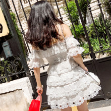 Sexy Off Shoulder White Hollow Out Lace Dress Women 2019 Bohemian Cascading Ruffle Mini Dress High Quality Runway Dress(China)