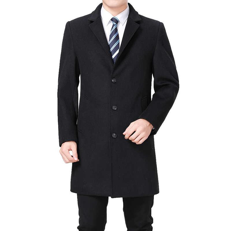 2019 High Quality Wool Coat Men Winter Long Coat Peacoat Long Jacket Men Cashmere Coat Mens Wool Blend Overcoat Trench Coat Man