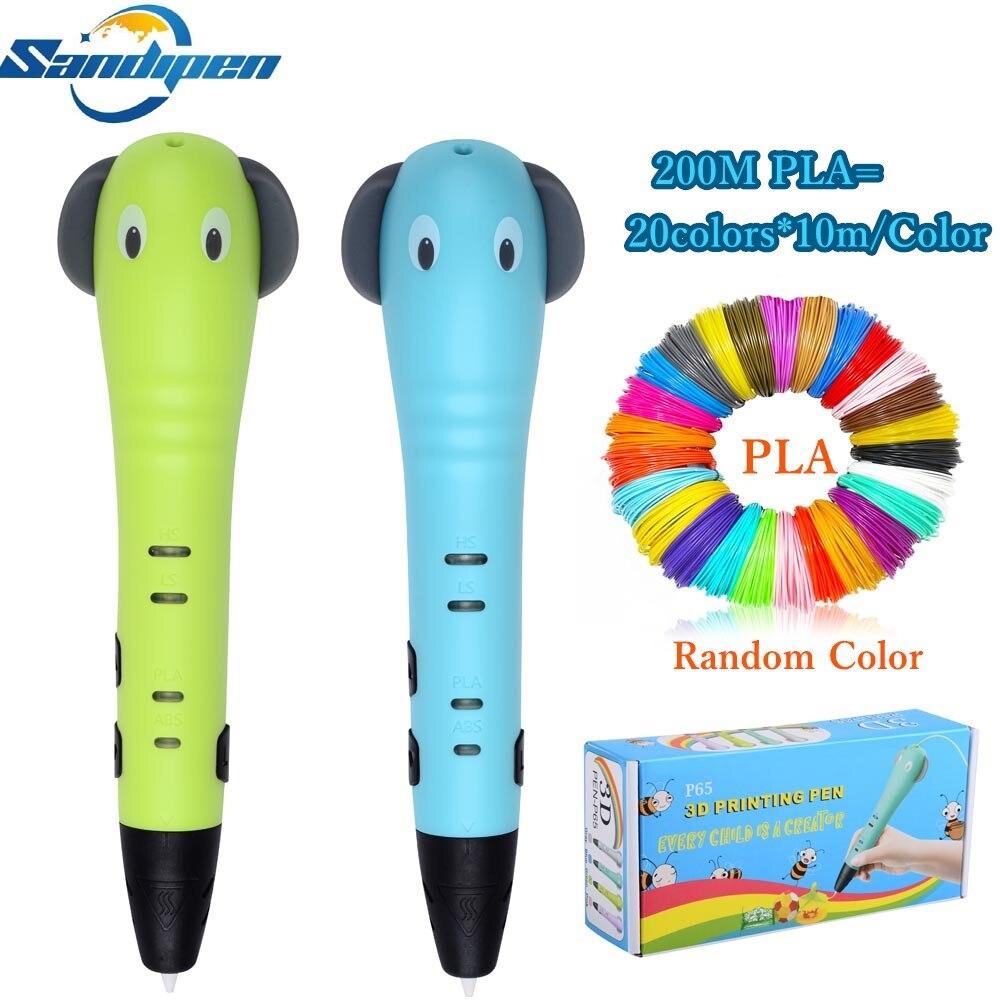 Sandipen Newest 3D Pen Painting Pen Cartoon 3D Drawing Pens Creative Kids Toy Education Gift Drawing Pencil Free PLA P6500 цена 2017