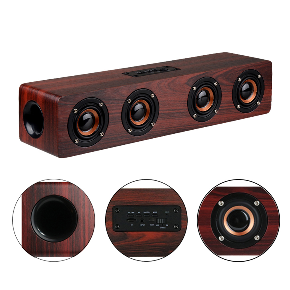 4 Horns High Power Wood Wireless Bluetooth Speaker Portable Computer Speakers 3D Loudspeakers for TV Home Theatre Sound Bar AUX цена 2017