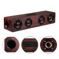 4 Horns High Power Wood Wireless Bluetooth Speaker Portable Computer Speakers 3D Loudspeakers For TV Home