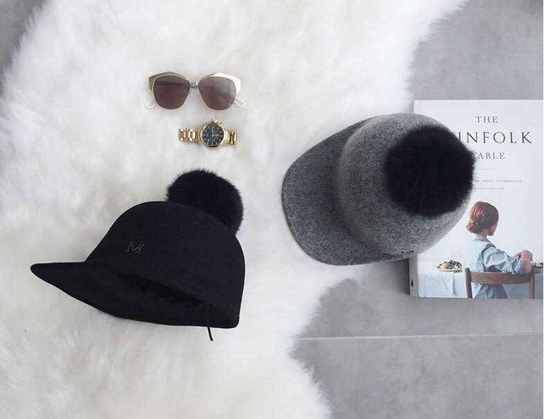 01808-ju-MNM0027 winter 100% wool warm fox pompon leisure equestrian cap MEN women wool visors hat