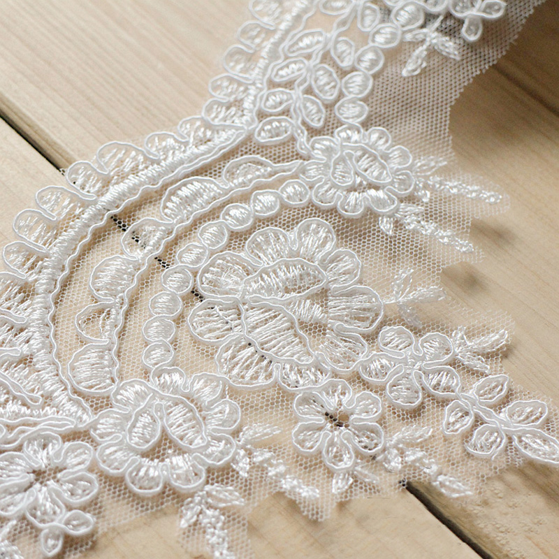 6 Yard Bredd 11cm Brudklänning Trim Vit Organza Lace Ansiktsplagg - Konst, hantverk och sömnad