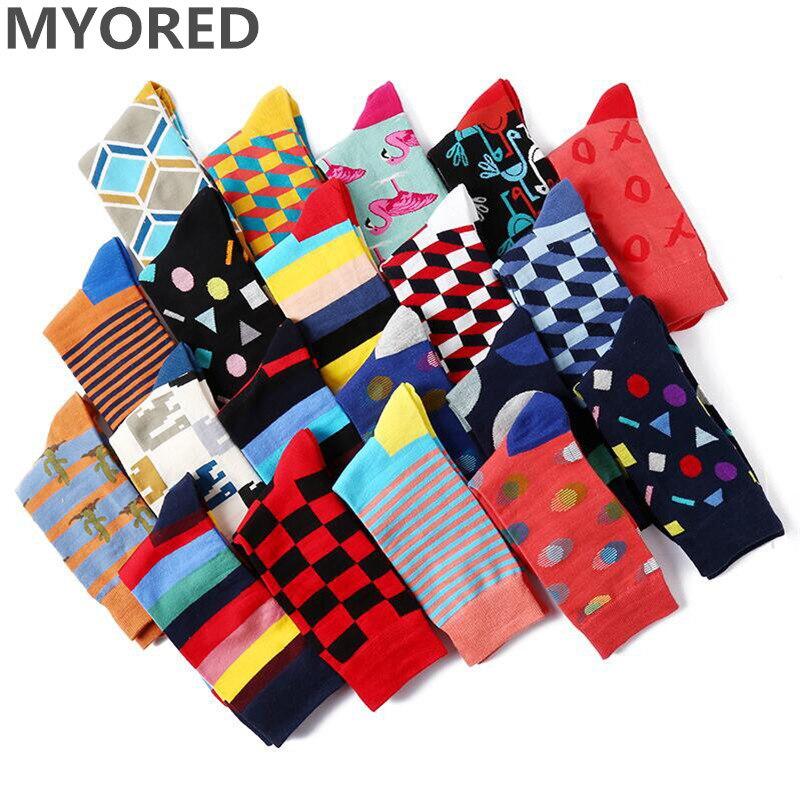 MYORED 5 Pair/lot Men Socks Happy For Funny Socks Novelty Lot Colorful Socks Man Casual Dress Gift Socks Skateboard Wear