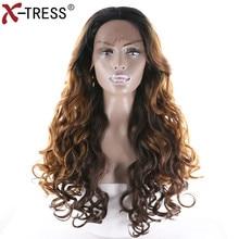 X-TRESS Довга хвиляста синтетична мереживна передня паричка з середньою розшаруванням теплостійким волоконно-розслабленим хвилям Ombre Brown Pants для чорних жінок