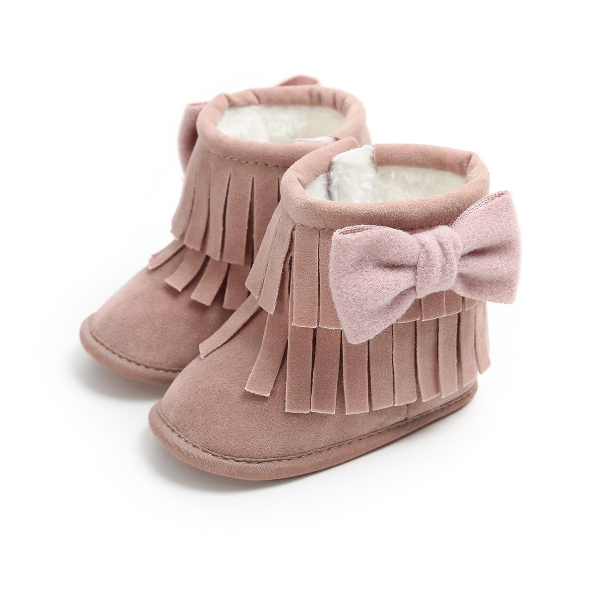 Purple Bow-knot Tassel Leather Snow Boots Winter Newborn Girl Boy Shoes Non-slip Prewalker Booties Baby Shoes 0-18 Months.CX154B