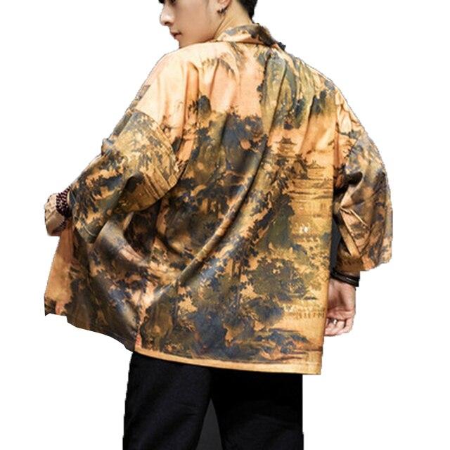 Summer Trench Coat Men Cloak Cape Chinese Style Kimono Cardigan man Vintage Open Stitch Streetwear Hip Hop Jacket Mens Overcoat