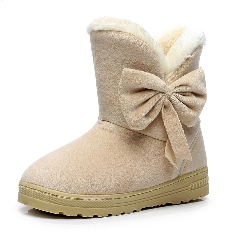 2017 Female Warmer Fur Suede Rubber Women Boots Flat Slip On Winter Ankle Snow Boots Women's Fashion Platform Shoes  Bowtie fashion women ankle boots suede tassels snow boots female warm plush bowtie fur rubber flat silp on platform black shoes casual