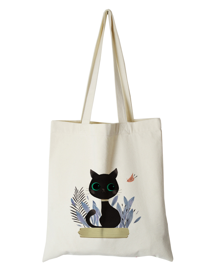 cute cat series canvas custom tote bag customized eco bags custom made shopping bags with logo  Dachshund Shepherd Dog Poodle (3)