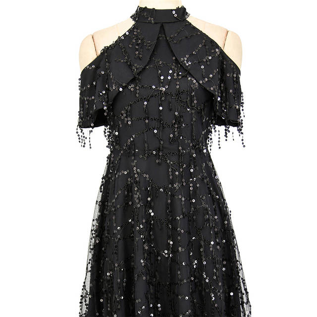 12ea37f9f7d8b Jessie Vinson Short Sleeve Halter Neck Off Shoulder Sequin Tassels Black  Short Dress Women Zipper Elegant Fringe Party Dress