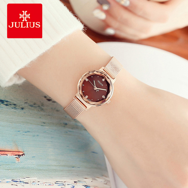 Julius Women Watch Luxury Rose Gold Stainless Steel Mesh Ladies Bracelet Watches