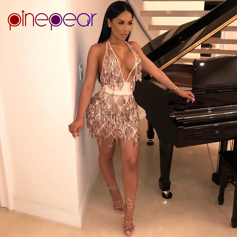 Detail Feedback Questions about PinePear New 2019 Women Gold Sequin Tassel  Dress Sexy Deep V Neck Sleeveless Backless Bandage Dresses Night Party Club  ... f6e551294998