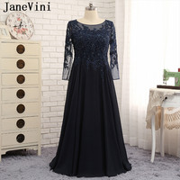 JaneVini Vestidos Navy Blue Plus Size Mother of Bride Dresses 2018 A Line Long Sleeve Lace Appliques Beads Chiffon Evening Gowns