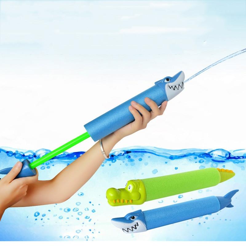 Playing Water Toy Water Gun Animal Head Water Cannon Pull-Type Pearl Cotton Crocodile Shark Water Gun Summer Beach Kids Toys