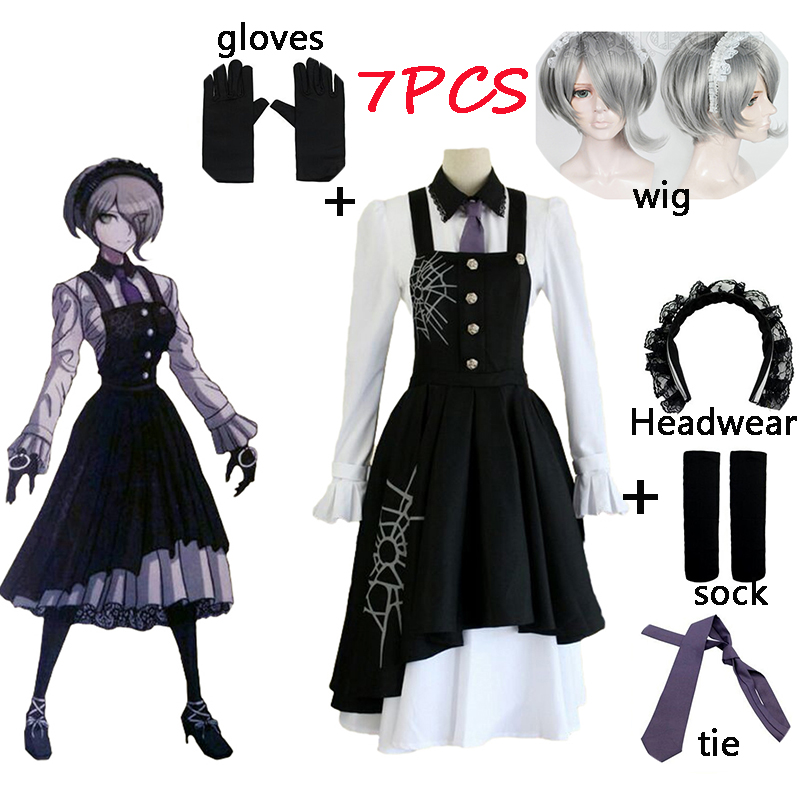 7PCS New Danganronpa V3 Tojo Kirumi Cosplay Costume Japanese Game Anime Uniform Suit Outfit Clothes And Wigs Halloween Cosplay
