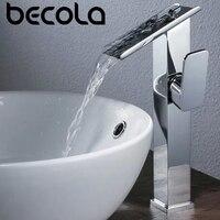 BECOLA Waterfall Bathroom Faucet Basin Faucets Single handle Basin Mixer Tap Bath Antique Faucet Brass Sink Water Crane Silver