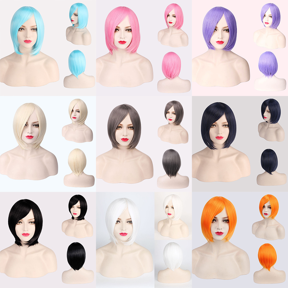 Cheap Synthetic Short Cosplay Wig Purple Pink Red Blue Grey White Bob Wigs For Women Heat Resistant Anime Hair