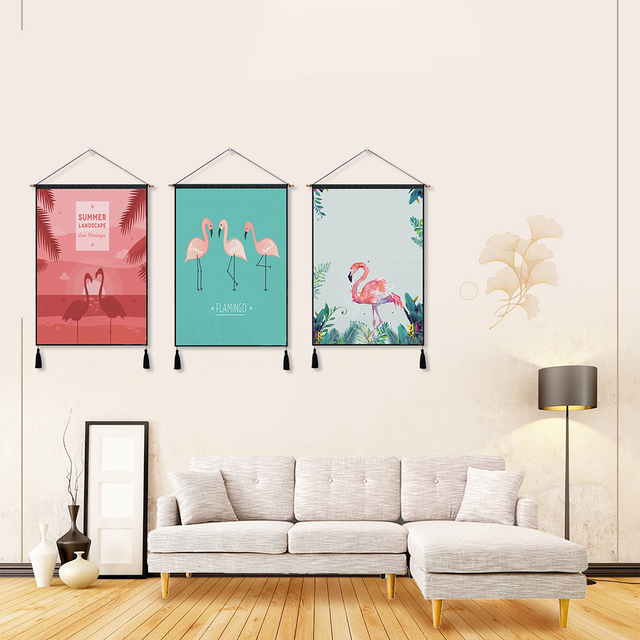 Flamingo Tapestry Wall Art Tapestries Tropical Home Decorative Door ...