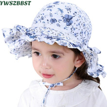 Fashion Spring Summer Baby Hat Grey Blue Double wavy lace Flower Cotton Baby Girls Sun Hat Kids Beach Hat Fisherman Caps