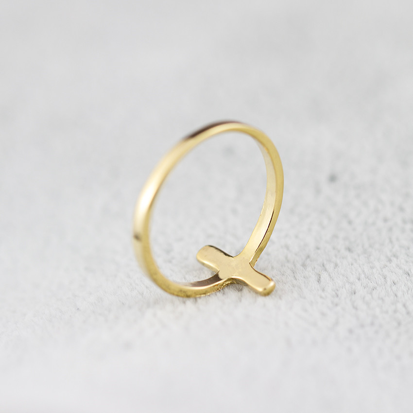 Religious Prayer Anillos Mujer Jesus Sideways Cross Ring Jewelry Gold Color Engagement Promise Forever Couple Rings For Women