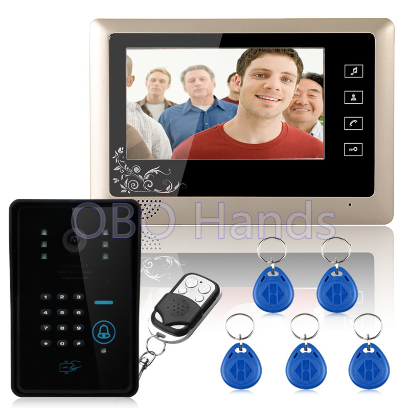 Free shipping 7'' wired color video door phone Intercom system video doorbell 1 CMOS Night Version Camera+1 monitor 809MJIDS11 brand new wired 7 inch color video intercom door phone set system 2 monitor 1 waterproof outdoor camera in stock free shipping