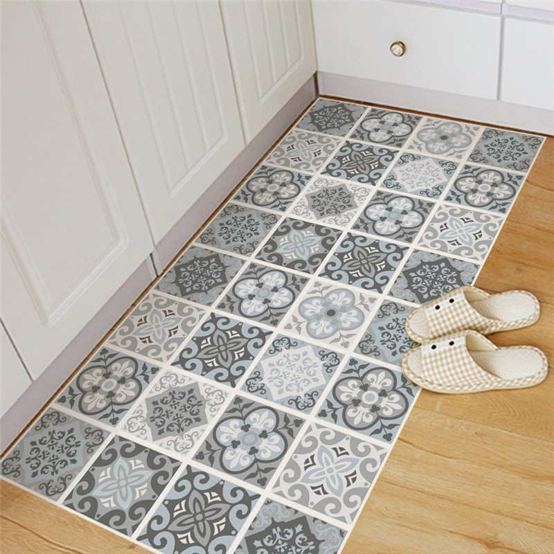 Blue & Grey Mediterranean Style Geometry Pattern DIY Anti-Slip Wear-Resistant Living Room Kitchen Floor Stickers