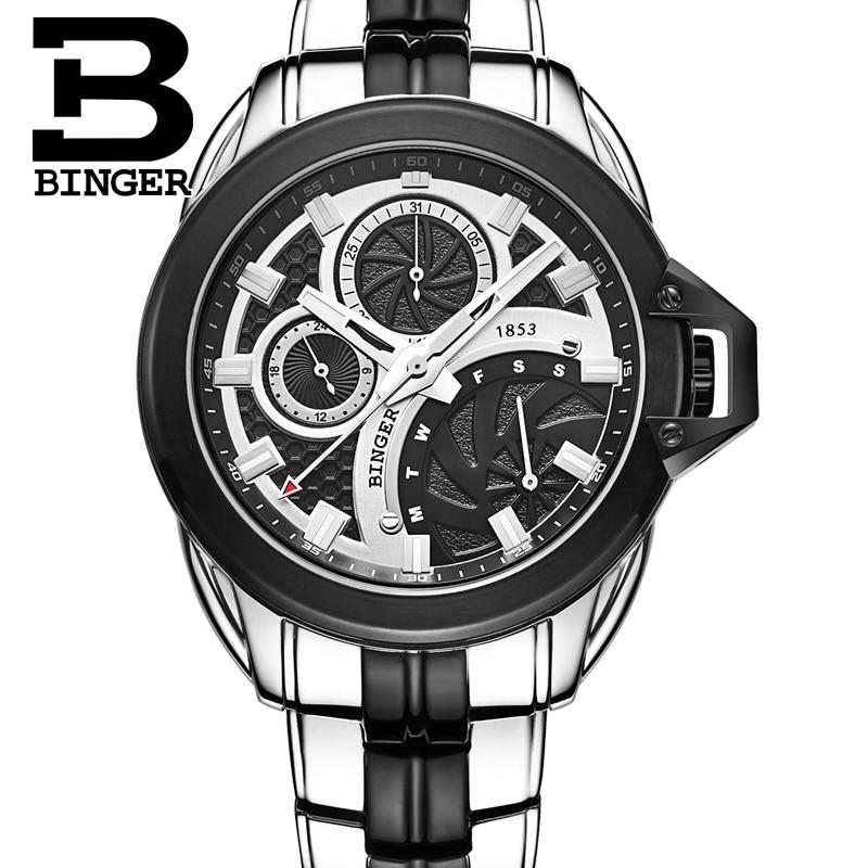 Switzerland men's watch luxury brand Wristwatches BINGER Quartz watches full stainless steel Chronograph Diver glowwatch B6012-2 switzerland relogio masculino luxury brand wristwatches binger quartz full stainless steel chronograph diver clock bg 0407 3