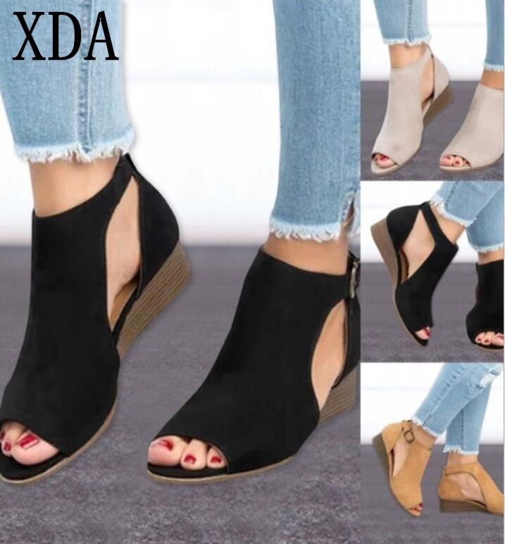 XDA 2019 mujer cuña hebillas pez boca sandalias gladiador mujeres Sandalias de tacón medio señoras verano peep toe mujeres zapatos