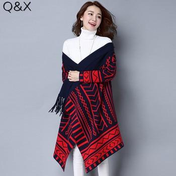 SC69 New Open Collar 2018 Knitting Scarf Women 's Winter Warm Geometric Pattern Irregular Scarves Women Print Poncho Pashmina chic skulls and stripes pattern voile pashmina for women