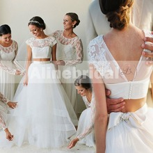 New Arrival Two Piece Short Sleeves Round Neck Ivory Lace Tulle Wedding Dresses Robe De Mariee