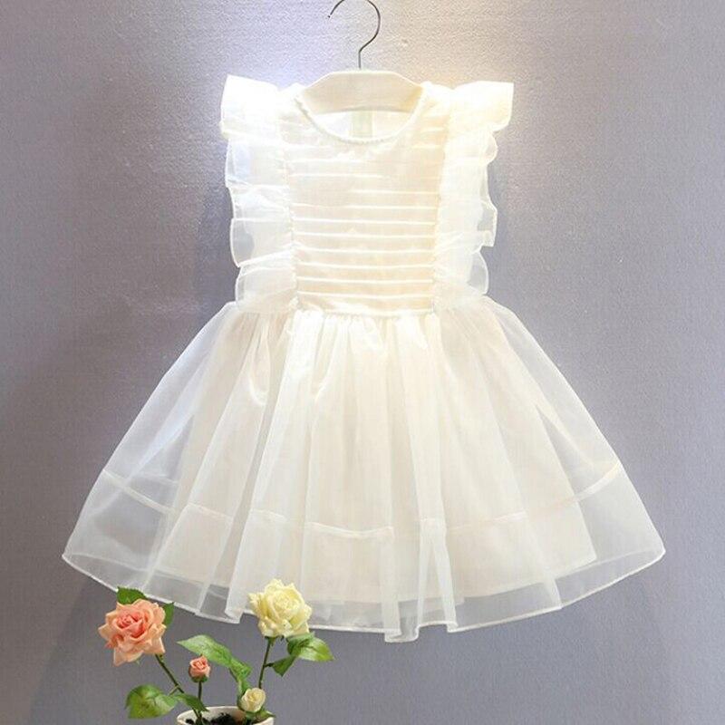 цена на Kids princess dress ruffle off sleeve new sweet off shoulder big bowknot fashion solid white girls princess dress