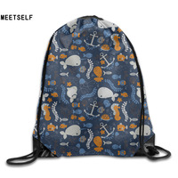 3D Print Ocean Pattern Shoulders Bag Women Fabric Backpack Girls Beam Port Drawstring Travel Shoes Dust