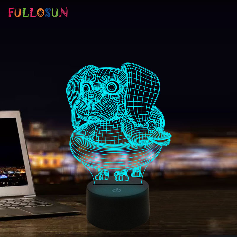 Puppy Dog Swimming 3D Novelty Night Light LED Colors Change Night Lamp For Kids Child Novelty Gift Lamp