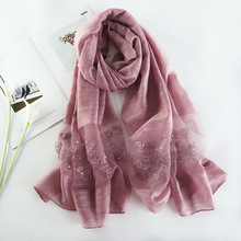 купить 2019 Brand Women Silk Scarves Fashion Embroidery Winter Scarf High Quality Soft Wool Scarf Lady Pashmina Shawls Bandana Foulard дешево