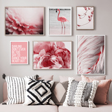 цена Pink Magnolia Peony Flamingo Feather Nordic Posters And Prints Wall Art Canvas Painting Wall Pictures For Living Room Home Decor