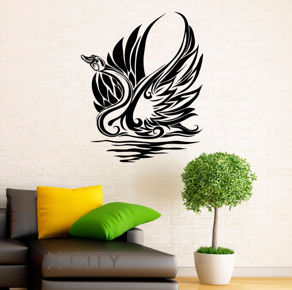 online get cheap office wall design aliexpress com alibaba group swan sticker waterbird vinyl decal grace home wall interior design art office murals lving room decor