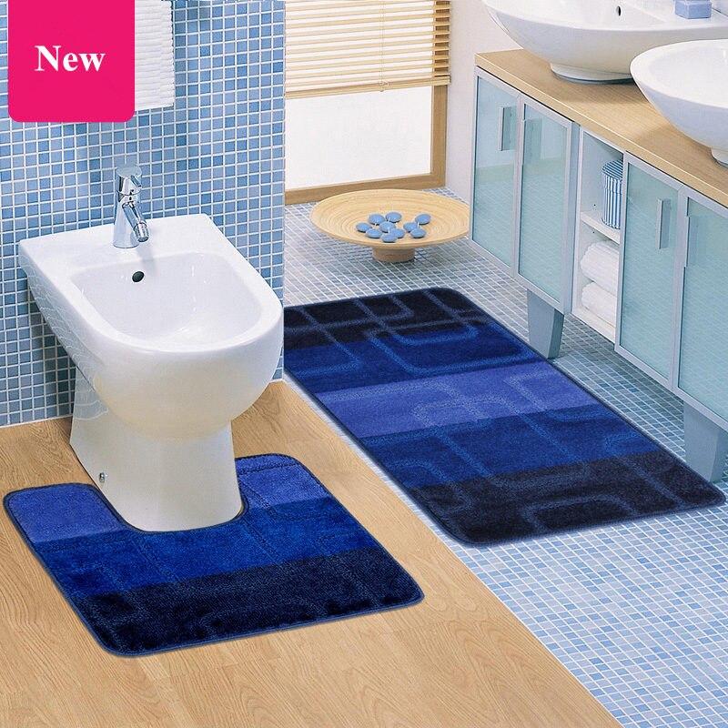 2pcsset Cheap High Quality Anti Slip Thicken Solid WC Bath Mat Set U-shaped Toilet Bathroom Rug Floor Carpet Banyo Paspas