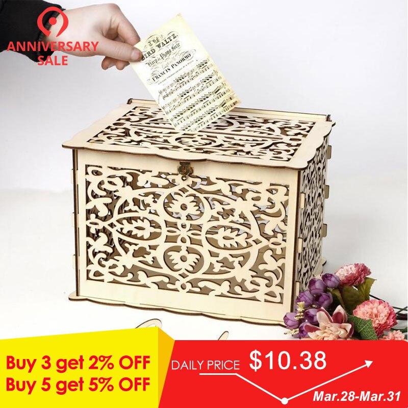 Diy Wedding Gift Card Box: Creative DIY Wedding Gift Card Box Container Wooden Money