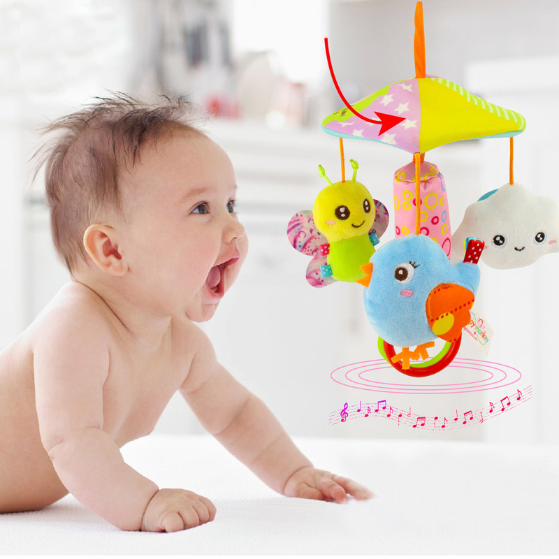 Baby Toddler Stroller Crib Pram Bed Rattle Hanging Toy Accessories Cute Plush Animal Hand Bell Appease Rotating Wind Chime Gift