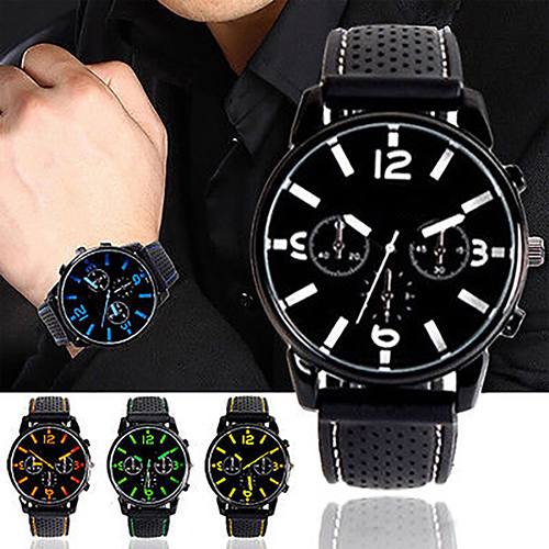 Men Fashion Numeral Dial Silicone Band Sport Analog Quartz Wrist Watch fashion men women lovers clocks silicone band black big dial quartz analog wrist watch creative apr22