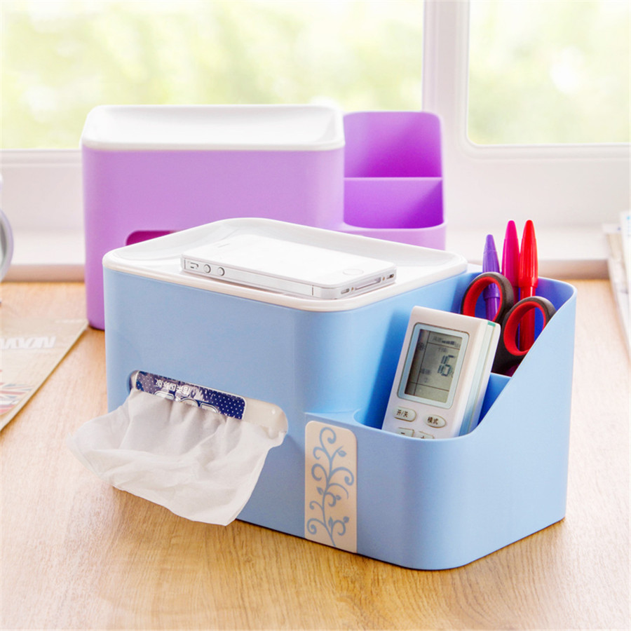 Plastic Tissue Case Boxes Remote Control Holder Desktop Table Office Storage Box Home Organization Dividers DDP119