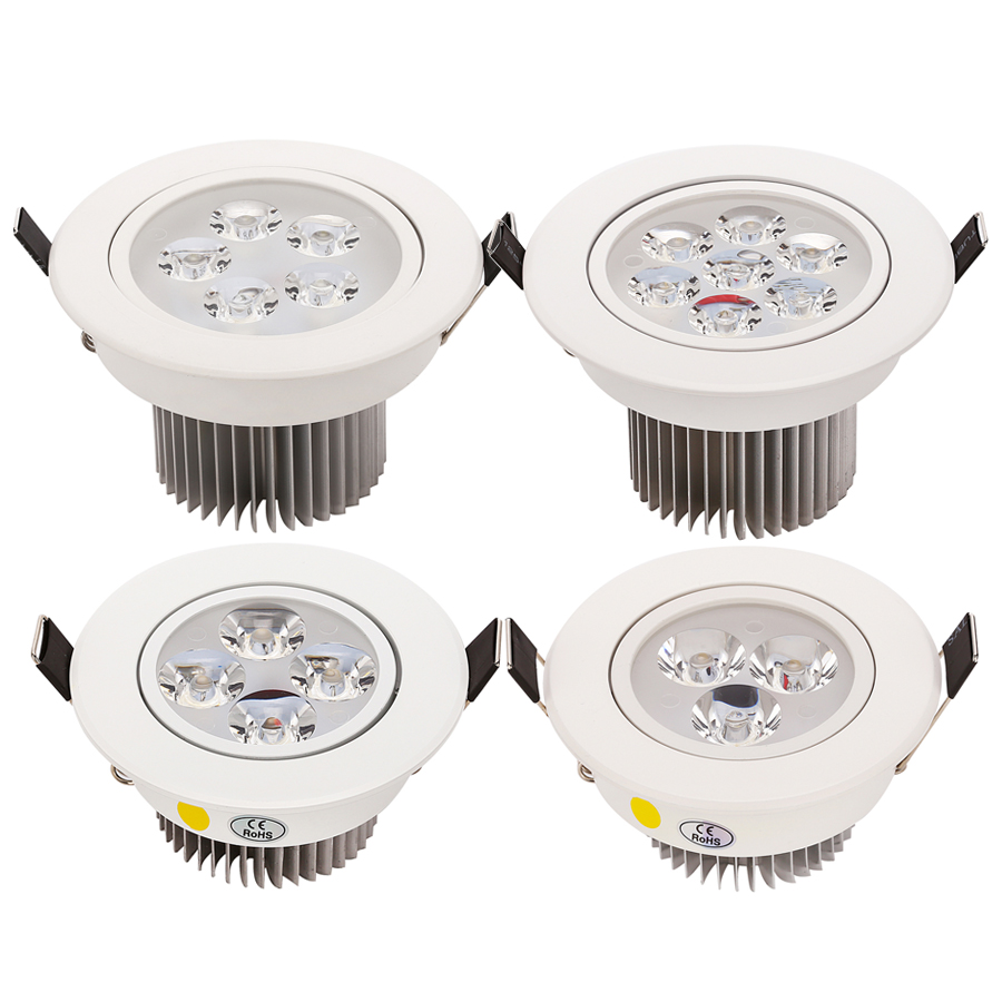 2pcs / lot 9W 12W 15W 21W LED Down Light Luces de techo empotradas AC110v 220v Carcasa blanca 330-770LM Blanco frío / puro / cálido