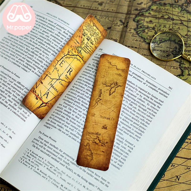 Mr Paper 30pcs/box Vintage Retro Style Wolrd Traveling Map Bookmarks for Novelty Book Reading Maker Page Creative Paper Bookmark 4