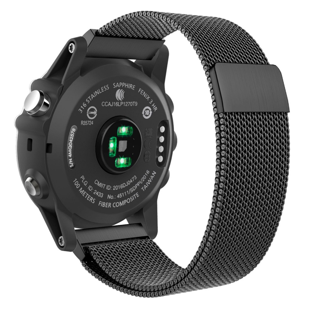 Leonidas Milanese Loop for Garmin Fenix 3 Fenix 5x Watch Replacement Band Strap With Lugs Adapters For Garmin Fenix 3 5x replacement silicone watch strap wrist band for garmin fenix5 fenix 5 garmin forerunner 935 gps watch quick release watchbands