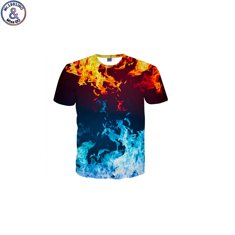 Mr.1991 brand funny design Blue flame 3D printed t-shirt for boy new fashion short sleeve kids t shirt teenage tops DK13