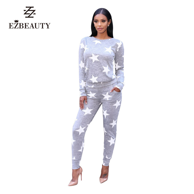 2 Piece Set Women Tracksuit Print Star Pattern Long Sleeve  Autumn Outfits Tops And Pants Activewear Fitness Set Clothing Women